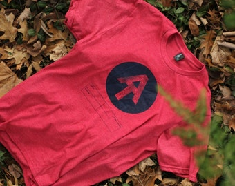 Personalized Appalachian Trail AT hiking logo tshirt your start and ending info. Hand screen printed on a pigment dyed vintage tee.