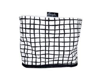 Stoff-Eimer, gefüttert schwarz ein weiß, Gitter-Muster, 100 % Baumwolle, weiß canvas Innenfutter, Nordic Design, skandinavischen Stil
