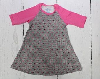 Dotty Floral Raglan Dress, Girls Knit Raglan Dress, Pin Dots, Mini Floral, Baby Pink