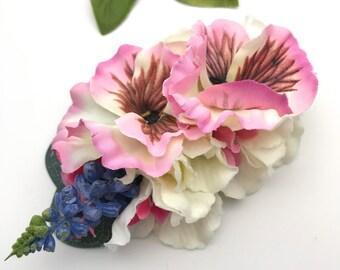 Handmade 'Enid' Pink White Pansy & Hydrangea Hair flower Clip