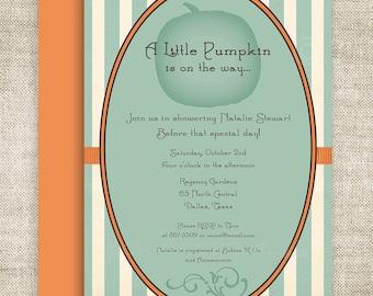 Little Pumpkin Lil' Punkin' BABY SHOWER Invitations Invite Blue Orange Stripes Digital diy Printable Personalized - 109174158