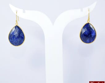 Sapphire earring, blue color earring ,dangle earring , drop earring, September birthstone earring, birthstone earring ,pear shape  earring