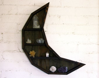 Crescent Moon Curiosity Cabinet // Reclaimed Wood Moon Shelf // Crystal and Gem Display Shelving