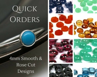 4mm Barely There Gemstone Ring in Sterling Silver - Select from Full List Sapphire Ruby Blue Topaz Carnelian Garnet Amethyst Citrine Kyanite