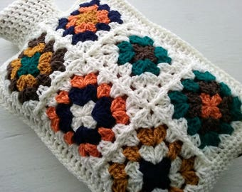 Hot Water Bottle Cover - Cozy edged in Cream