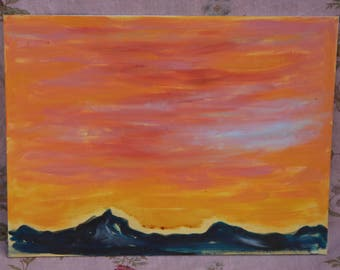 Mountain Sunset Painting 12 x 16 Fredrix Canvas Art Painting Sunrise or Sunset