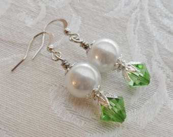 50% Off Clearance Sale, Dew Drop, Swarovski Crystal Earrings, Vintage Faux Pearl, Spring Green with Silver Finish