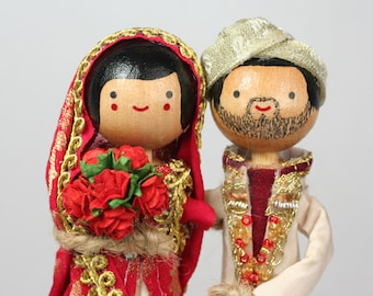 Custom Indian Wedding Cake Topper with 2x CUSTOM CLOTHING / MULTICULTURAL Theme