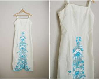 vintage 60s 70s ethnic embroidered white turquoise blue dress -- womens small/med-- 36-30--free