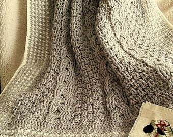 Digital Pattern-Crochet Cables with Hounds All Around Baby Afghan or Lap Blanket Throw. Cable Crochet. Houndstooth Crochet. Nursery Decor.