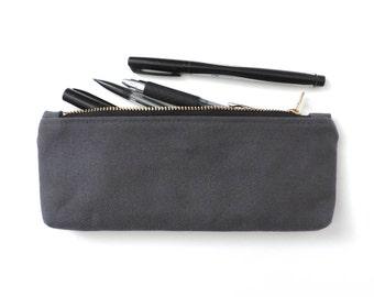 Canvas Pencil Case Zipper Pencil Pouch Grey