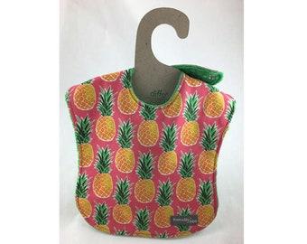 Pineapple bib, baby bib, leak proof bib, 1st birthday bib, tropical bib, shower gift, rainyday, ready to ship, designer baby, first birthday
