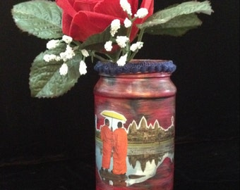 Ankor Wat Decoupaged & hand-painted upcycled glass vase