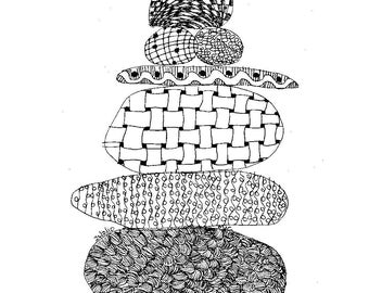 Zen Cairn, original pen sketch, by melanie j cook.