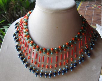 Vintage Egyptian Revival bookchain glass bead necklace REDUCED