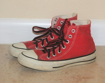 1980s Vintage Red USA Converse High Tops Boys 3 Womens 5