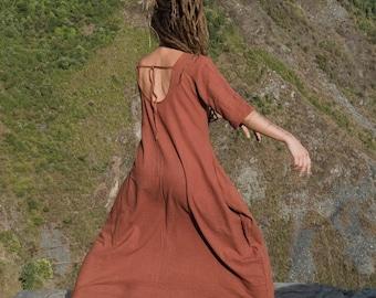 "khadi woman long free dress ""breathing"""