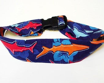 Canine Cooling Collar, Shark Dog Neck Cooler, Polymer Fabric Bandana Collar with Buckle Size Large 18 to 22 inch, Shark, Hibiscus iycbrand