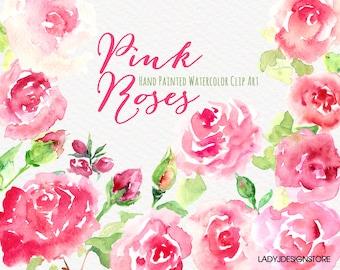 Watercolor hand painted Flowers Clip Art-15 Hand drawn Watercolor Pink Roses Clip Art,logo design,wedding invitation,Bonus:2 floral clip art
