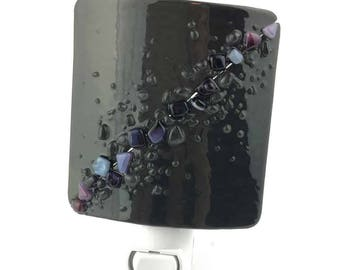 Night Light, Charcoal Gray and Purple, Art Glass, Wall Plug In, Large