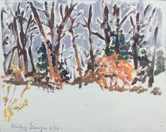 Winter im Garten, ORIGINAL Öl auf festem Papier verschneite Landschaft Gemälde von Shirley Kanyon, 2017, 7.7x9.3 Zoll, 19.5x23.5 cm