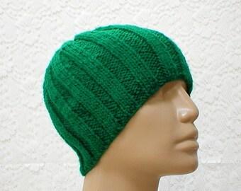 Emerald green beanie hat, skull cap, toque, green hat, mens womens knit hat, chemo cap, green ribbed beanie, mens womens green knitted hat