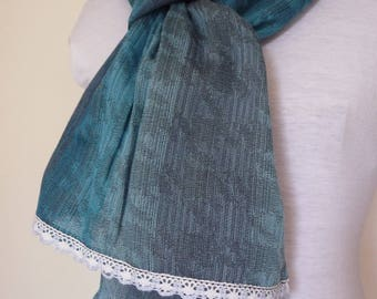 Blue scarf and lace trim