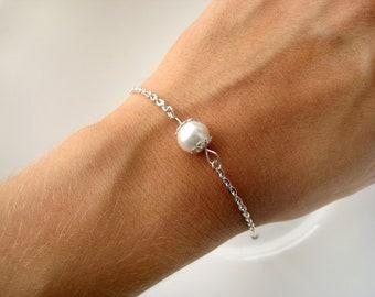Set of 8-Pearl Bridesmaid Bracelet, Bridesmaid Bracelets, Bridesmaid Pearl Bracelets, Custom Pearl Color, Pearl Bridesmaid Jewelry