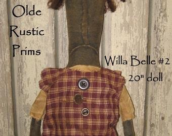 "Willa Belle Primitive 20"" Black Doll IMMEDIATELY DOWNLOADABLE E-PATTERN"