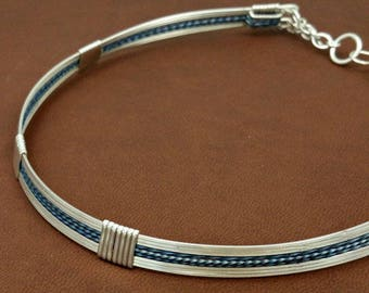 COLLAR - Wire Wrapped Design in Sterling Silver w/ Blue Titanium Twist, Wedding and Bridal Jewelry, Unisex Collar, Anniversary Made To Order