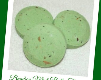 Bamboo Mint Bath Fizzies, Bamboo Bath Soak, Scented Bath Bombs, Bath Fizzies, Mint Bath Bombs, Set of 3 Bath Bombs