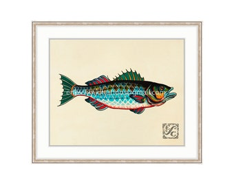 """Striper Fish 11""""x14"""" Giclee Print Of A Watercolor Painting For The Saltwater Angler. Striper Bass Painting."""