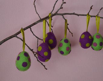 Easter Eggs Easter Ornaments Dotted Eggs set of 6 Light green Purple Easter Felted Eggs Easter Home Decor Spring Decor Needle Felted Eggs