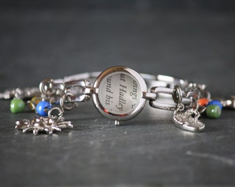 The Paris Wife recycled book bracelet, recycled watch bracelet, Ernest Hemingway, Hadley Hemingway, book page jewelry, book page bracelet