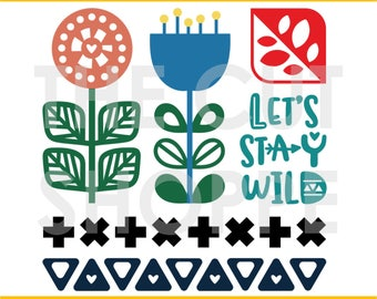 The Folk Art cut file set includes 6 Scandinavian inspired designs, that can be used for your scrapbooking and papercrafting projects.