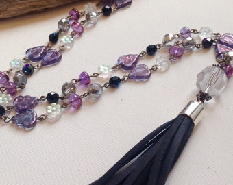 Boho Necklace, Tassel Necklace, Lavender Crystal Necklace, Glass Beaded  Leather Tassel Necklace,  Black Tassel and Purple Tassel Boho