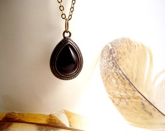 The Witching Hour Black Agate Necklace, Black Pendant Black Gemstone Necklace, Antique Bronze Necklace Black Necklace Vintage Style Necklace