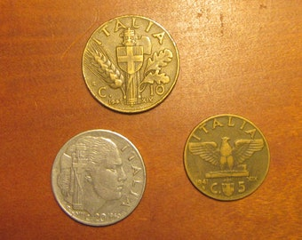 Italy 3 coin lot 5 centesimi 1941, 10c of 1941, 20c of 1940, Italian coins, for collectors craft supply supplies, jewelry making, inv2
