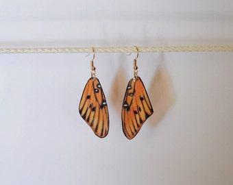Handcrafted Butterfly wing earrings Jewelry Orange and Black butterflies Dangle Drop Fish Hook earrings 14k sterling silver hypoallergenic