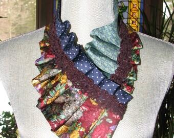 Necktie Ascot - Necktie Necklace - Refashioned Necktie - Pleated Necktie