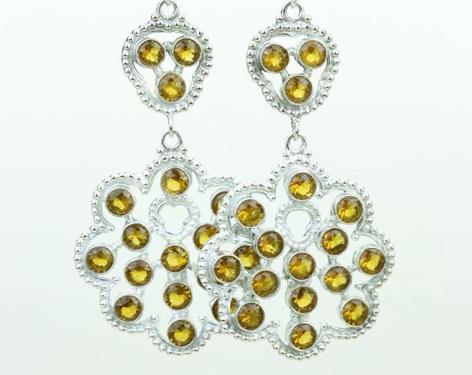 Citrine 925 SOLID (Nickel Free) Sterling Silver Italian Made Dangle Earrings r693