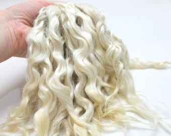 Doll hair (white, natural, washed) Mohair Hair for doll, reborn, Paola Reina, BJD, Blythe, PukiFee, Monster High, Disney Princess, waldorf