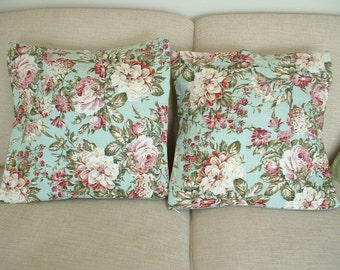 "Quilted Floral Pillow Cover - Set of Two - 21""Square"