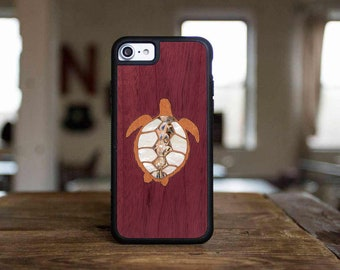 Turtle Inlay- Best Durable Real Wood Traveler Case -iPhone SE/6/7/8/X/Plus - Galaxy Note 8/S9/S9 Plus/S8/S8 Plus/S7/S7 edge - Pixel/XL/2/2XL
