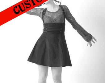 CUSTOM Suspender skirt, Custom high waisted skirt with suspenders, Your size, Your choice of fabric
