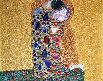 Painting Gustav Klimt. Kiss. Semiprecious stones, gold and gold leaf. Large Contemporary Painting on canvas.
