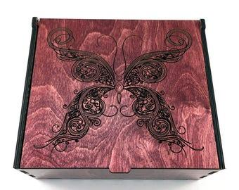 Butterfly Essential Oil Storage Box, 42 Slots, Aromatherapy Storage Box, Essential Oil Case, Wood Butterfly, Oil Organizer, Oil Display