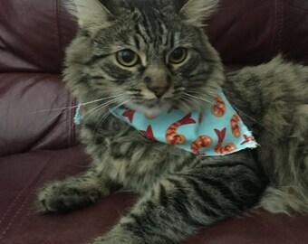 Cat (or small dog) Bandana with Happy Shrimp