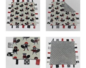 Burly Beavers Security Blanket ~ Sensory Blanket ~ Cuddle Blanket ~ Black, White, Gray, and Red