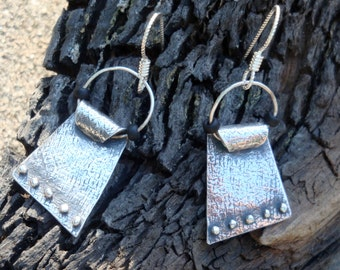 Plain and Simple II - Fine Silver and Seed Bead Earrings - PMC Earrings